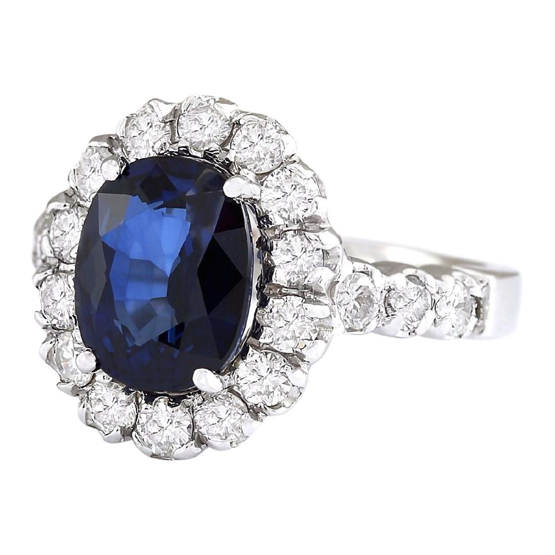 3.35 CTW Natural Blue Sapphire And Diamond Ring In 18K - 2