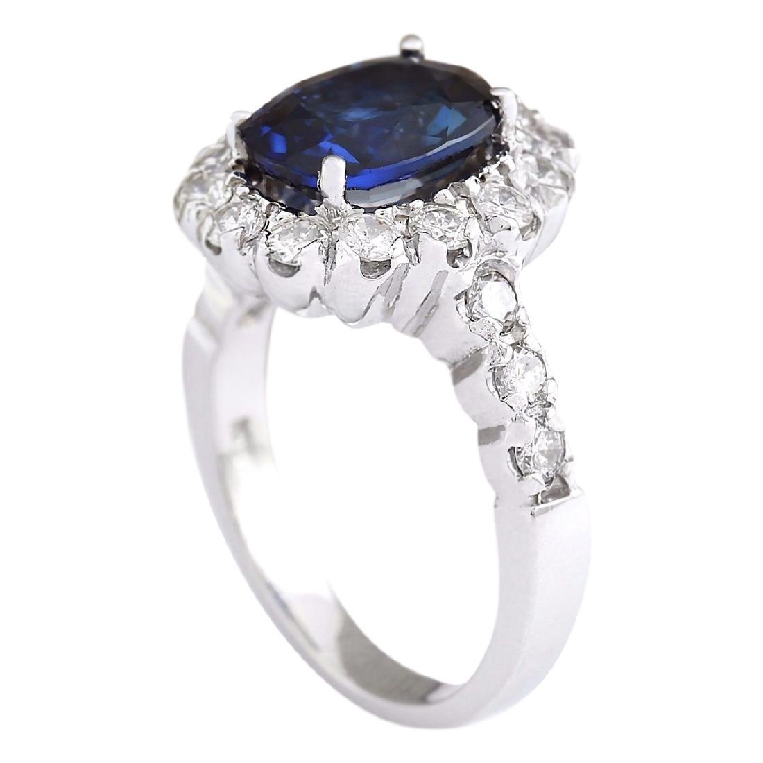 3.35 CTW Natural Blue Sapphire And Diamond Ring In 18K - 3