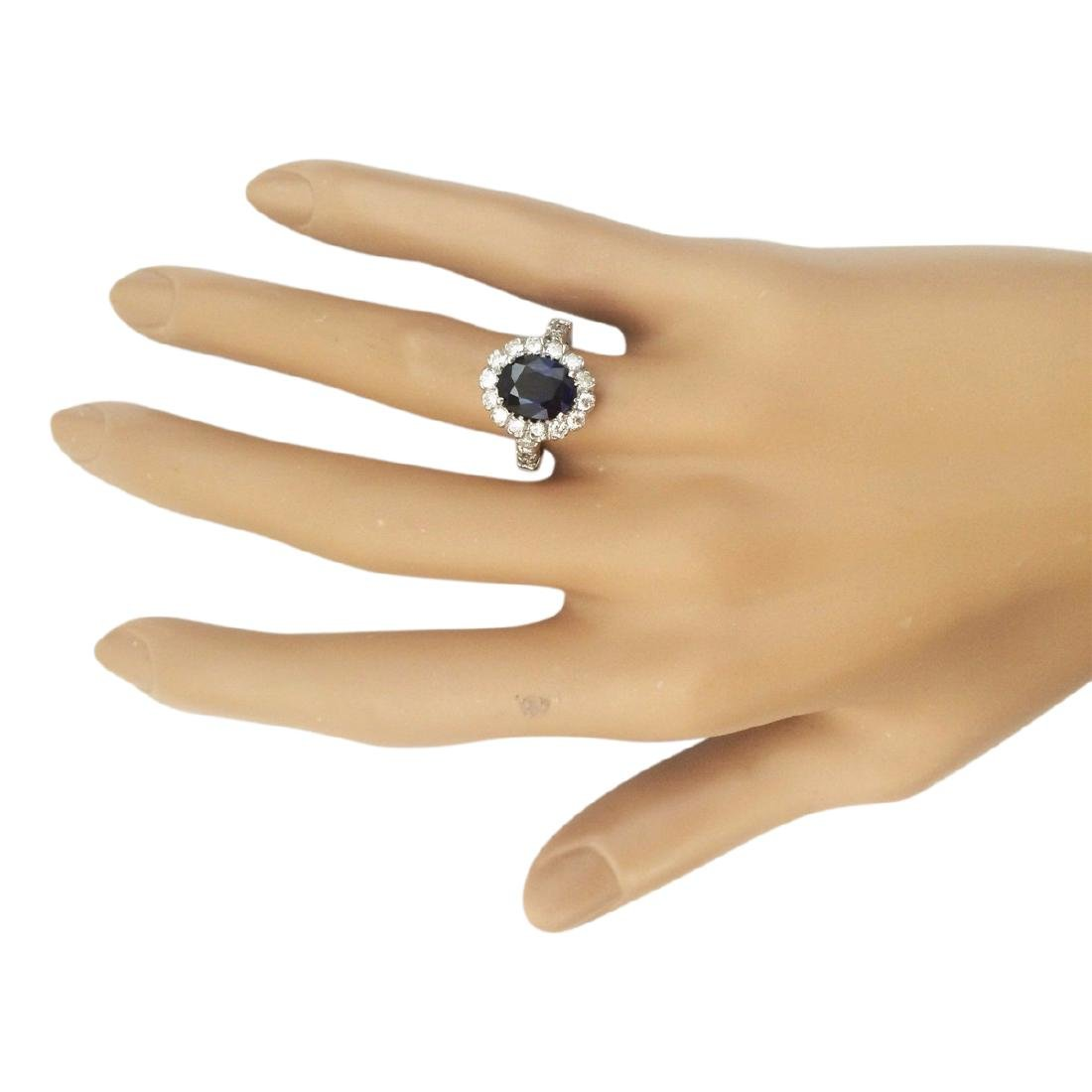 3.35 CTW Natural Blue Sapphire And Diamond Ring In 18K - 4