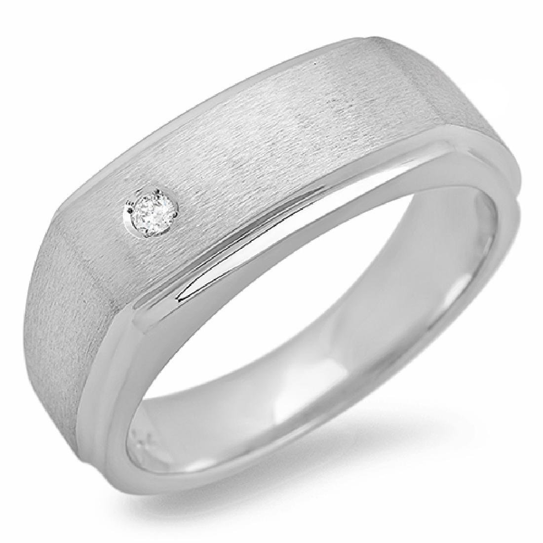 Mens 0.08 Carat Natural Diamond 18K Solid White Gold - 2
