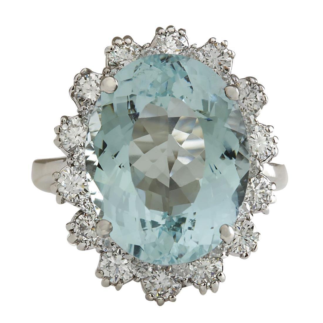 10.25CTW Natural Aquamarine And Diamond Ring In 18K