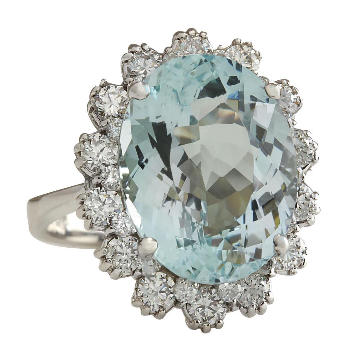 10.25CTW Natural Aquamarine And Diamond Ring In 18K - 2