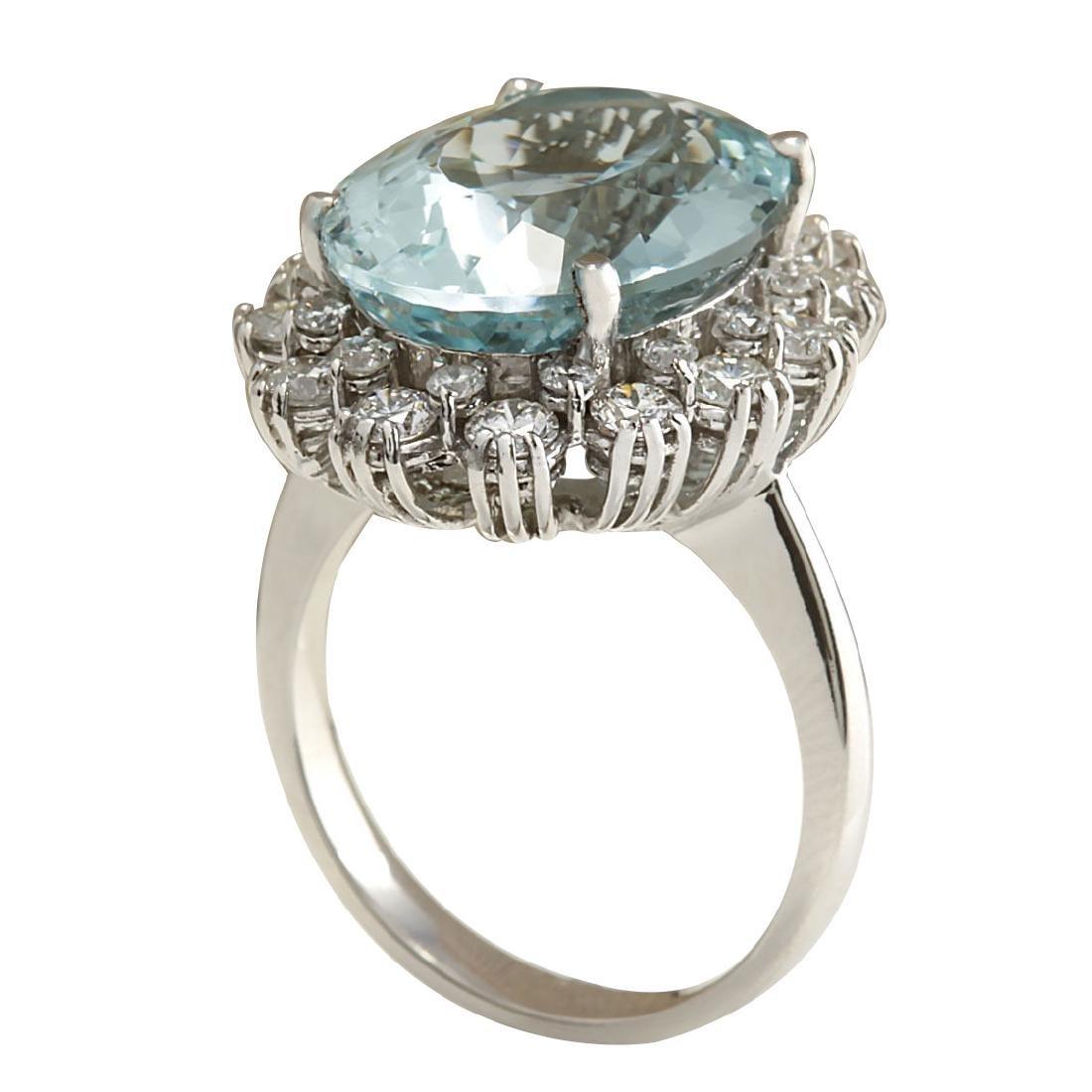 10.25CTW Natural Aquamarine And Diamond Ring In 18K - 3