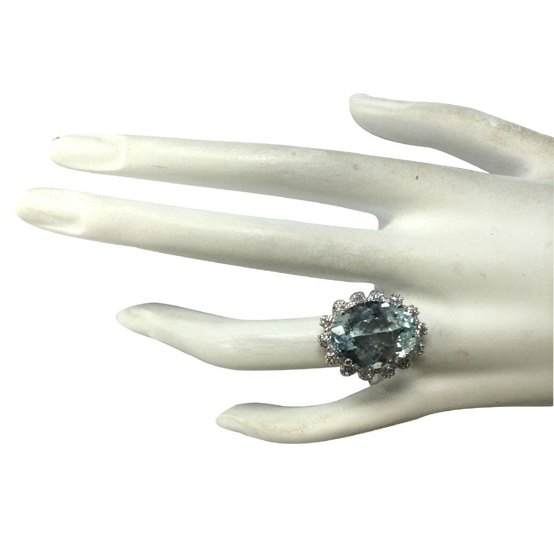 10.25CTW Natural Aquamarine And Diamond Ring In 18K - 4