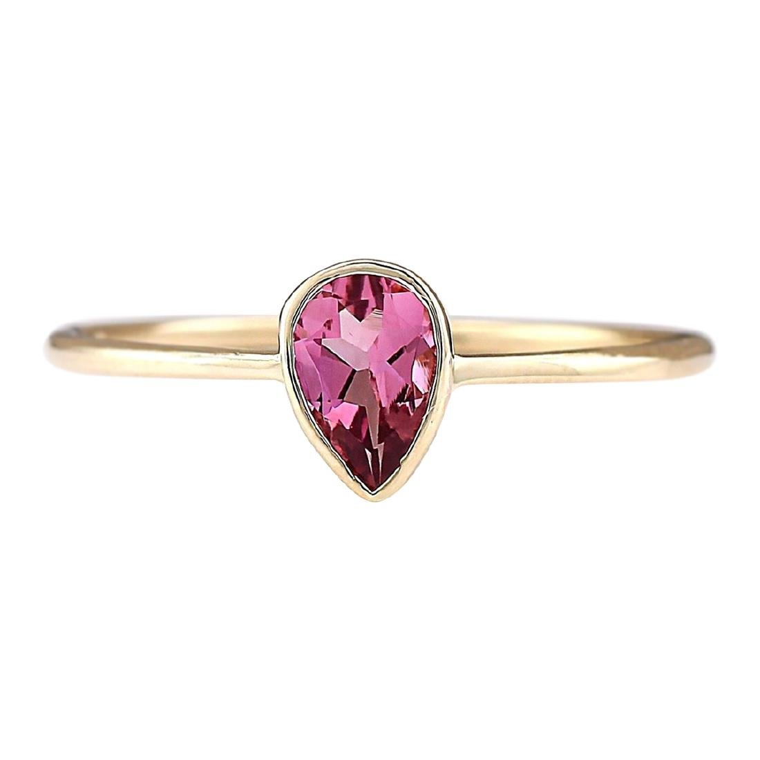 .50 CTW Natural Pink Tourmaline Ring 18K Solid Yellow
