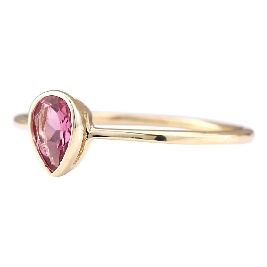 .50 CTW Natural Pink Tourmaline Ring 18K Solid Yellow - 2
