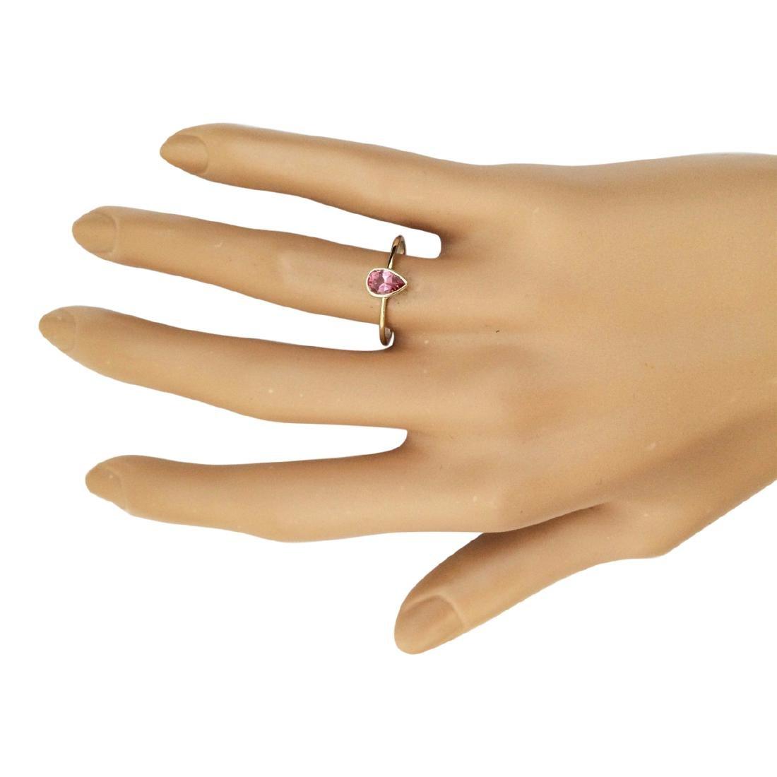 .50 CTW Natural Pink Tourmaline Ring 18K Solid Yellow - 4