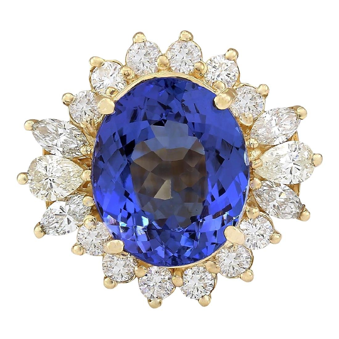 10.64 CTW Natural Tanzanite And Diamond Ring In 18K