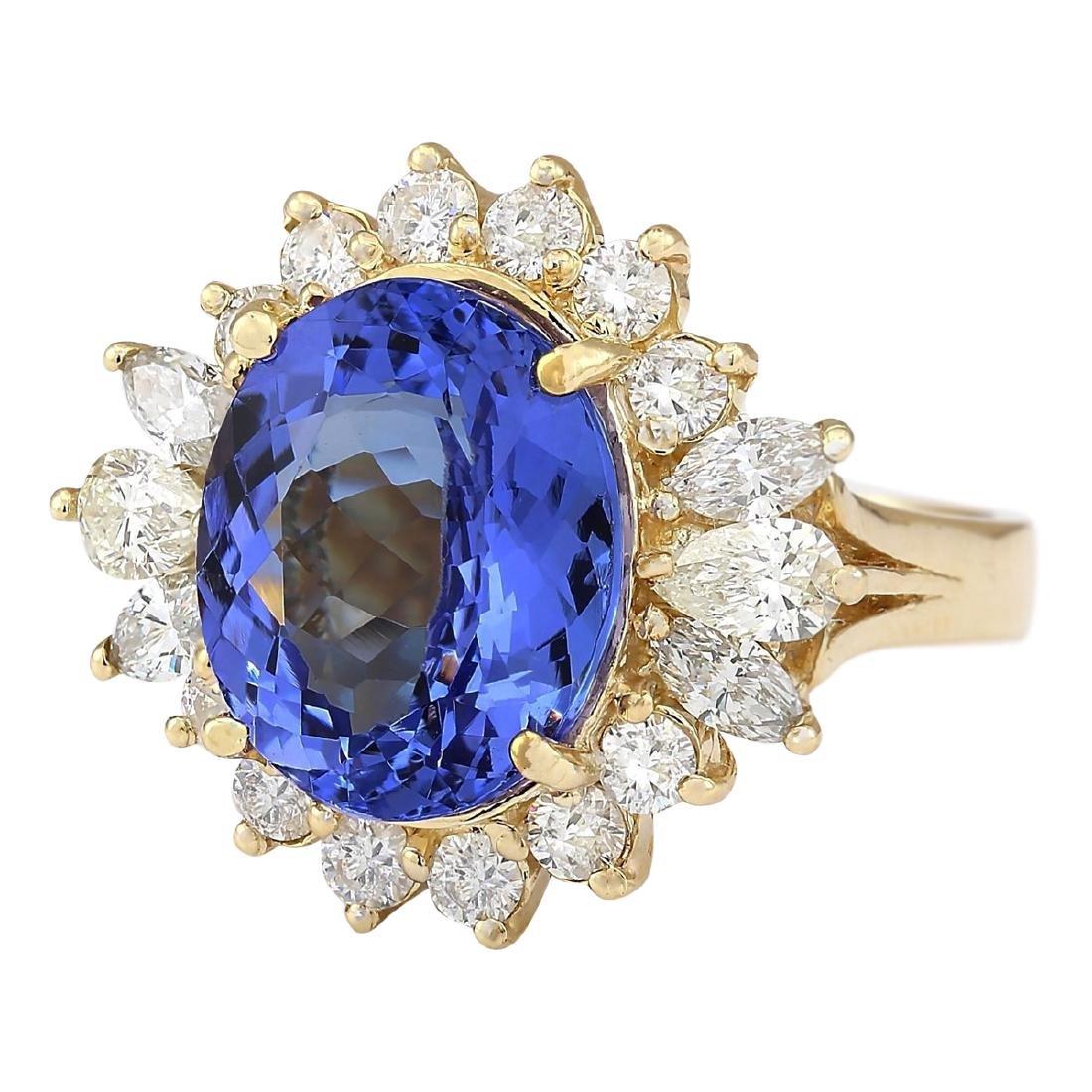 10.64 CTW Natural Tanzanite And Diamond Ring In 18K - 2