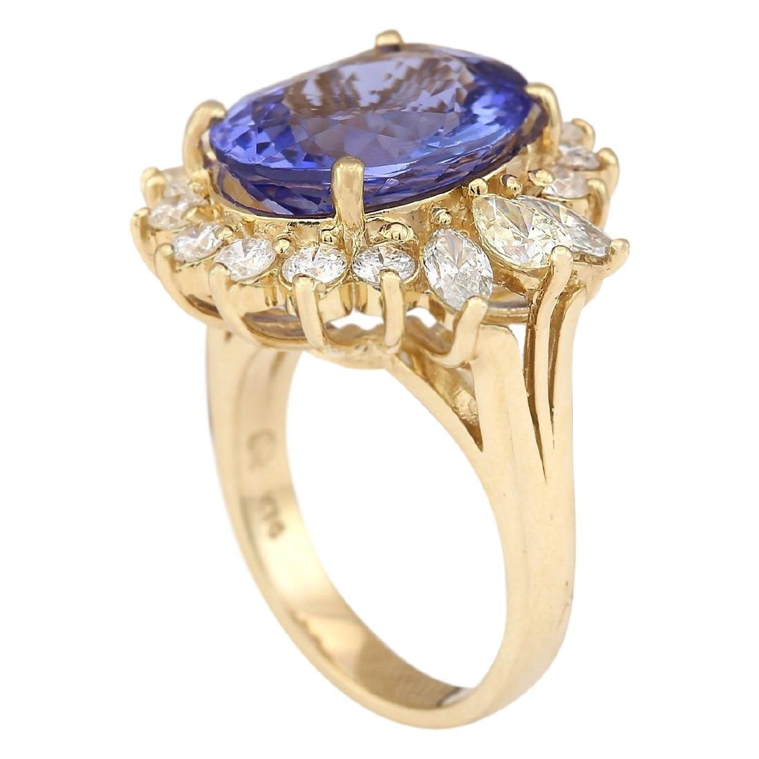 10.64 CTW Natural Tanzanite And Diamond Ring In 18K - 3