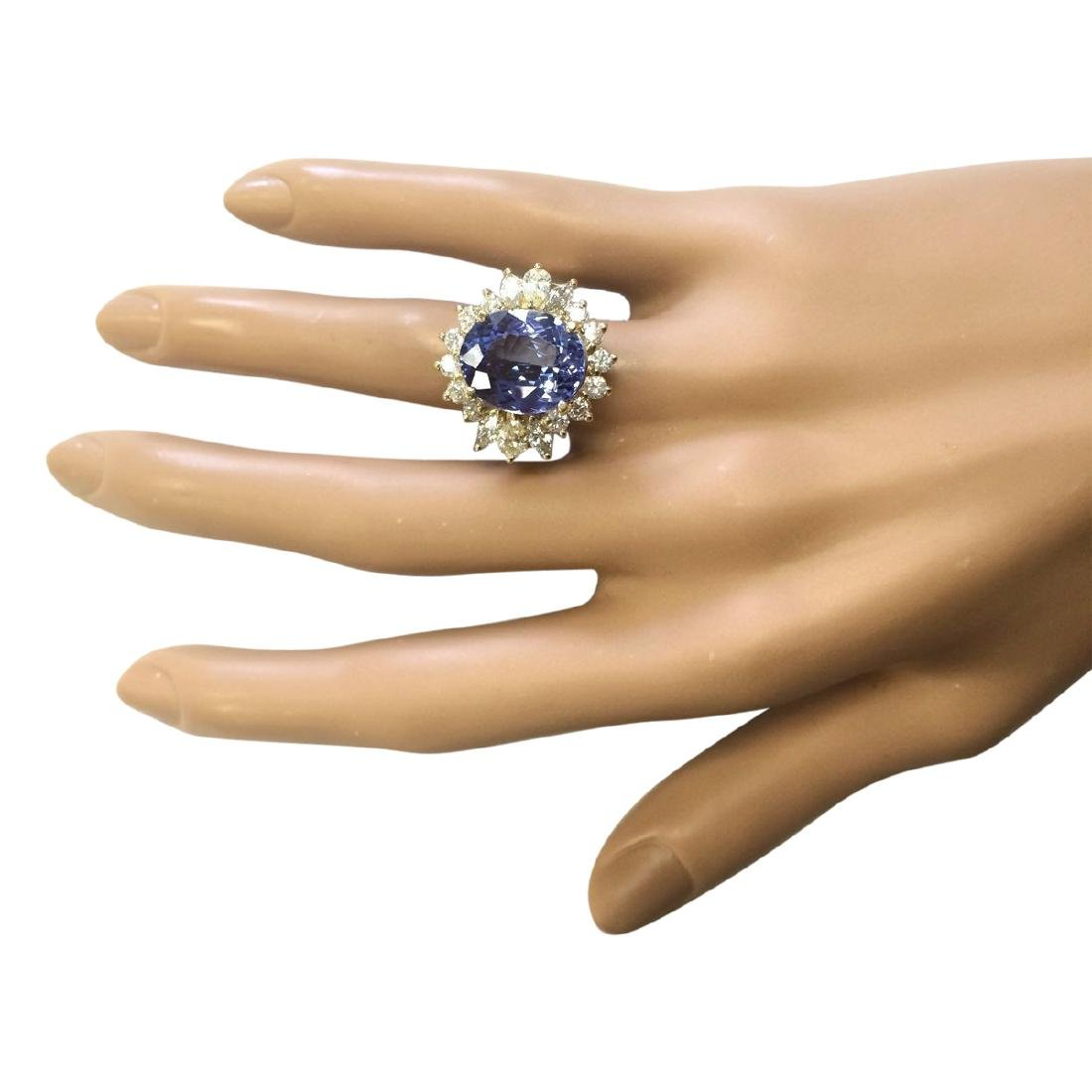 10.64 CTW Natural Tanzanite And Diamond Ring In 18K - 4