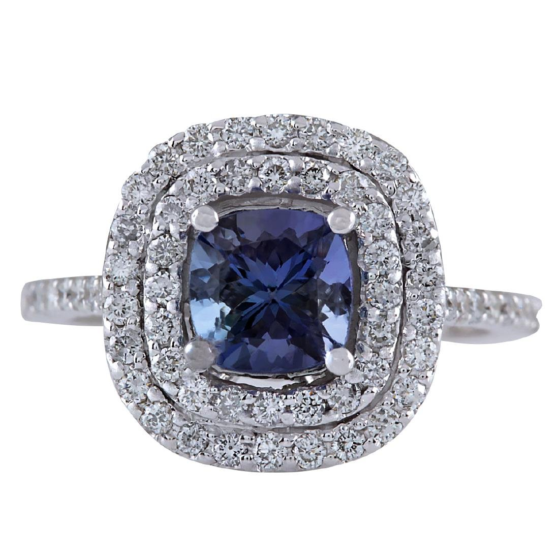 2.37CTW Natural Blue Tanzanite And Diamond Ring In 18K