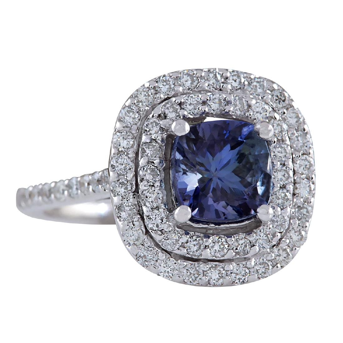 2.37CTW Natural Blue Tanzanite And Diamond Ring In 18K - 2