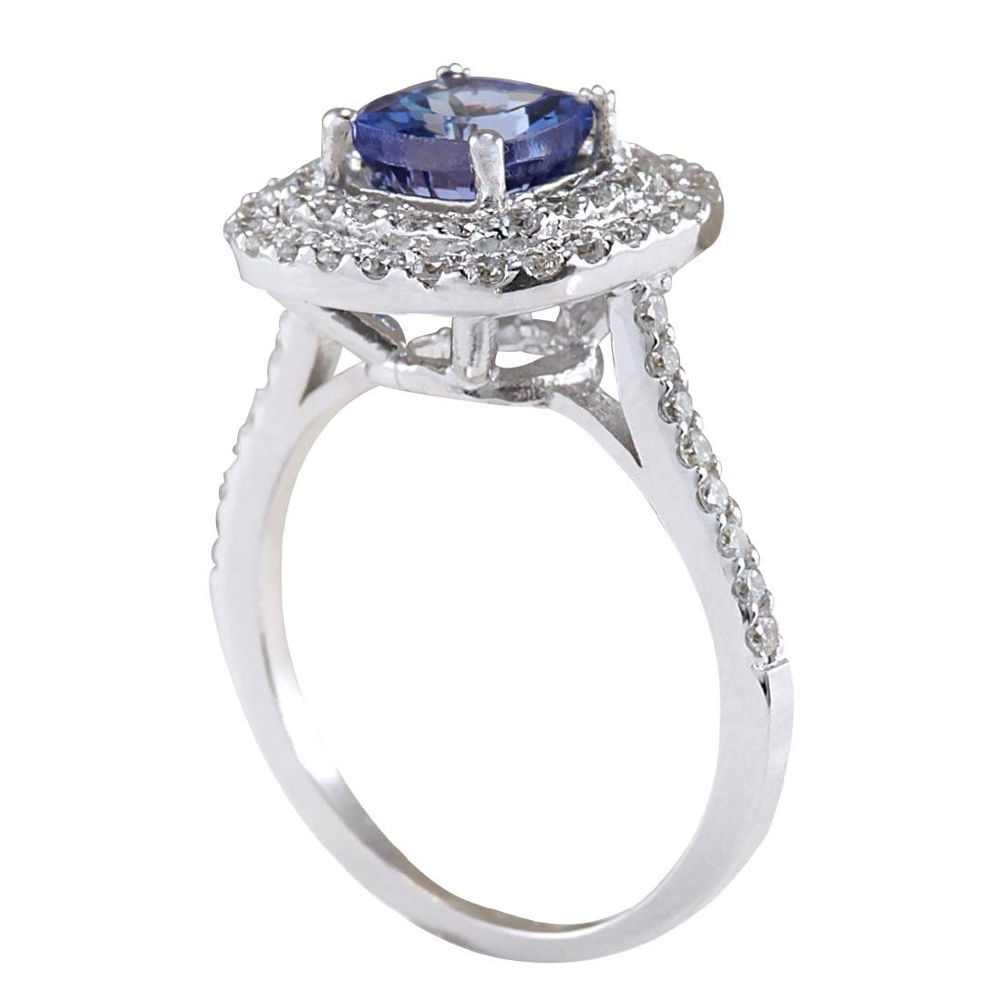 2.37CTW Natural Blue Tanzanite And Diamond Ring In 18K - 3