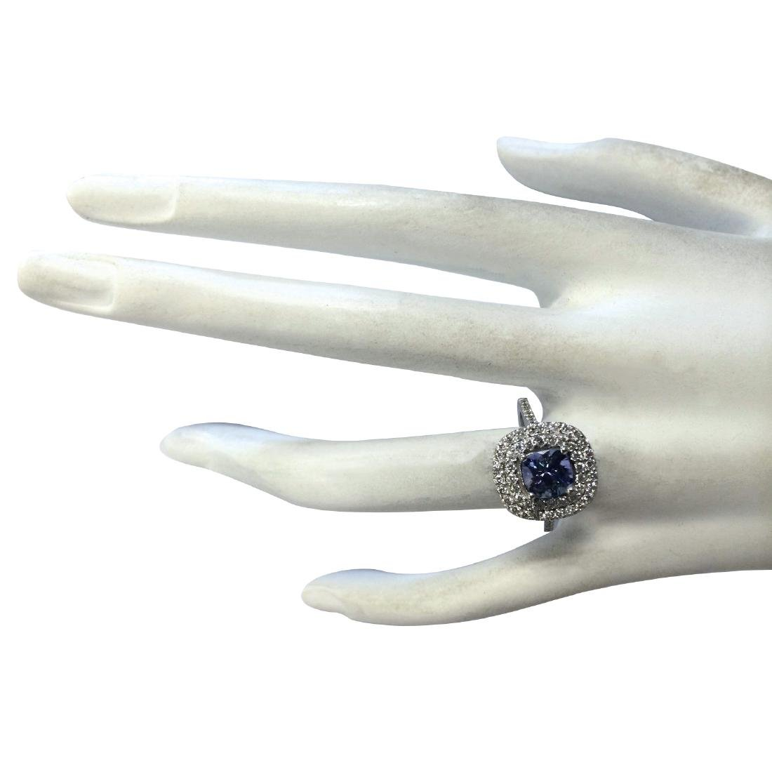2.37CTW Natural Blue Tanzanite And Diamond Ring In 18K - 4
