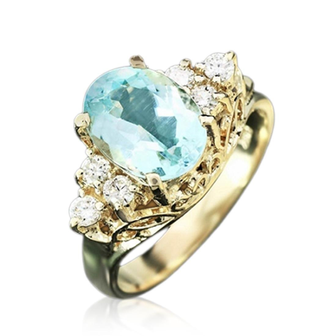 2.30 Carat Natural Aquamarine 18K Solid Yellow Gold
