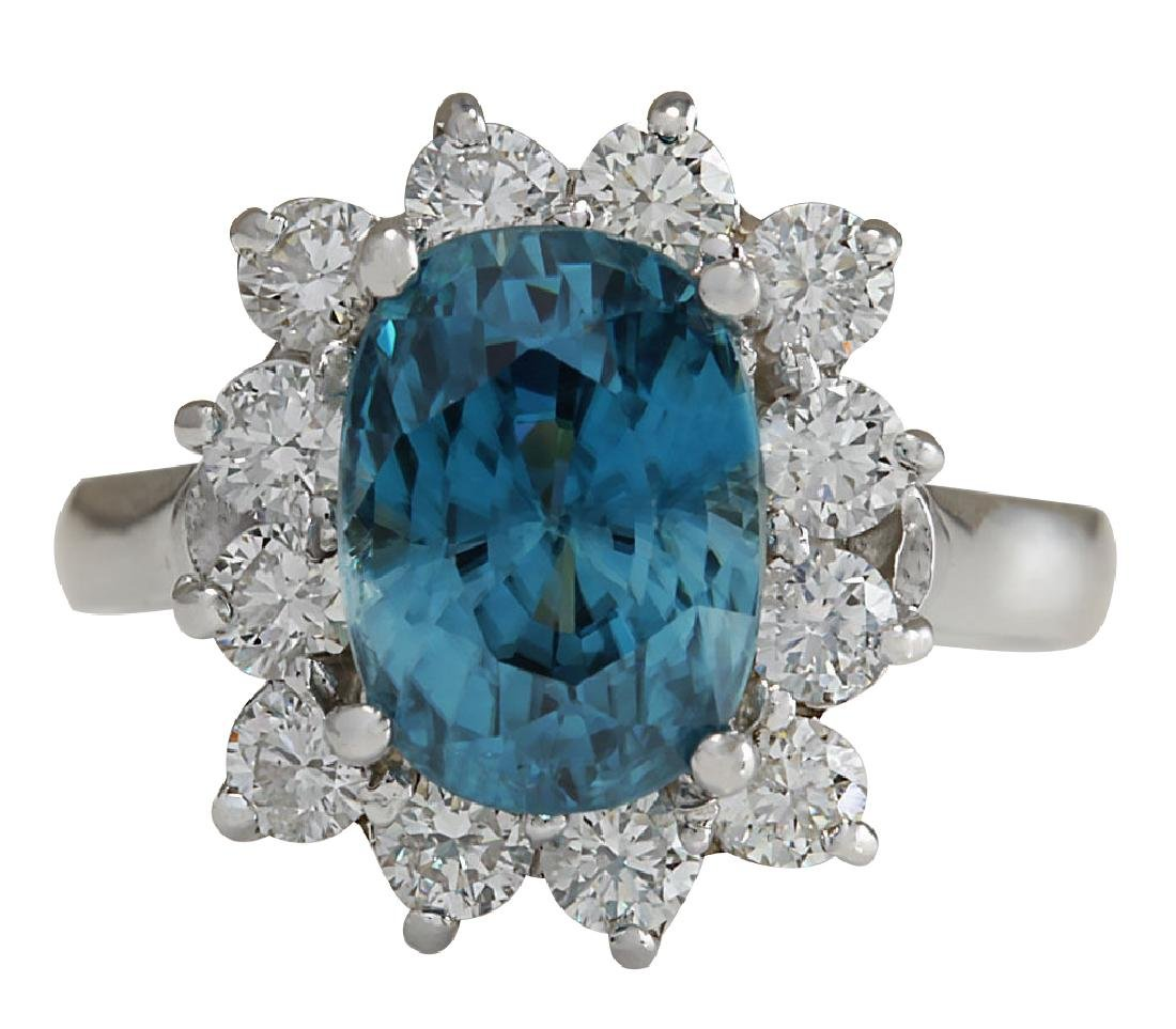 6.07CTW Natural Blue Zircon And Diamond Ring 18K Solid
