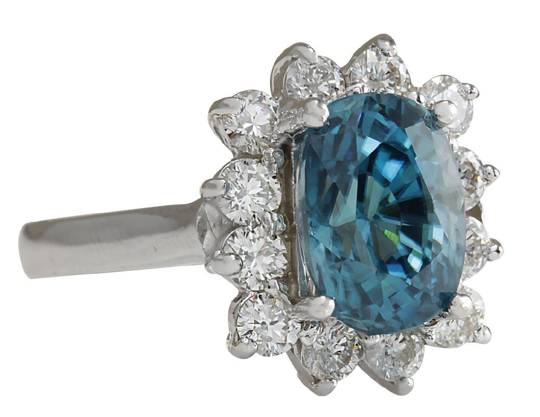 6.07CTW Natural Blue Zircon And Diamond Ring 18K Solid - 2