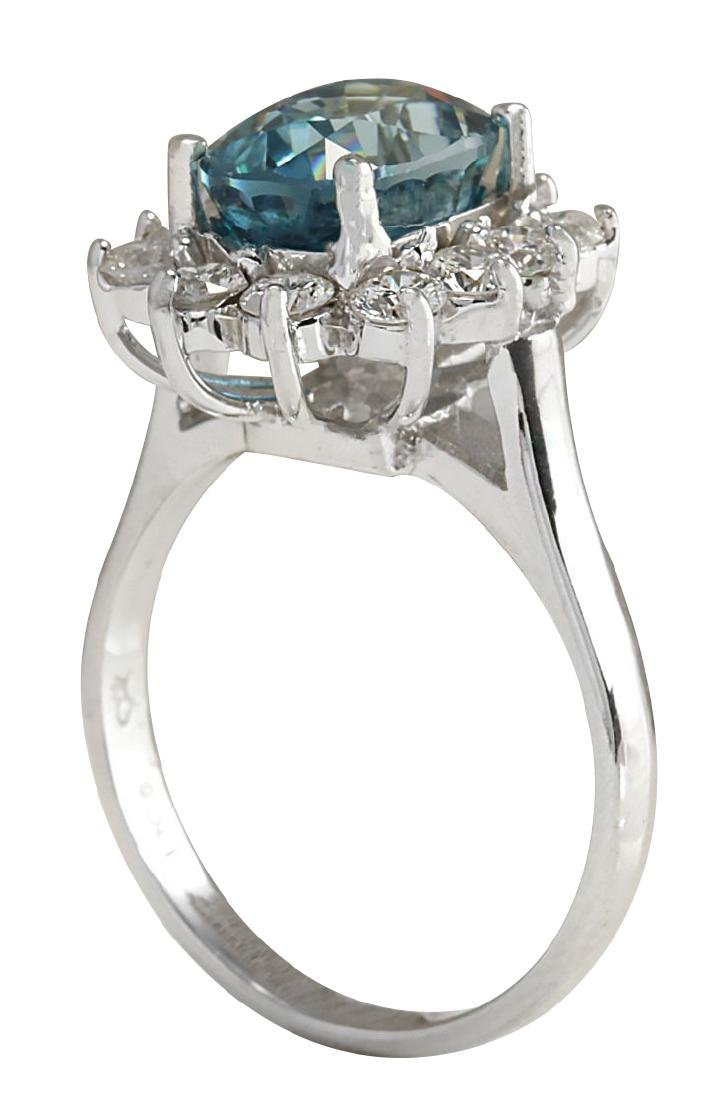 6.07CTW Natural Blue Zircon And Diamond Ring 18K Solid - 3