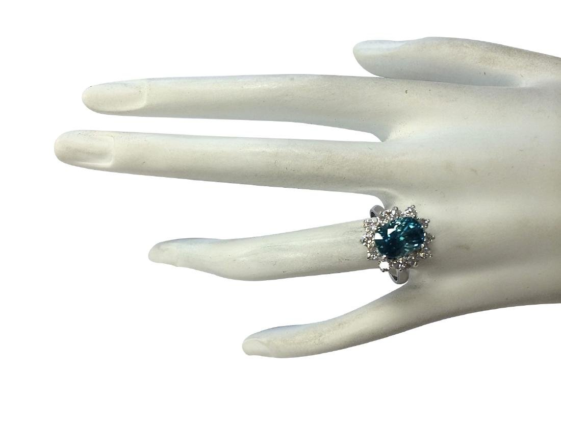 6.07CTW Natural Blue Zircon And Diamond Ring 18K Solid - 4