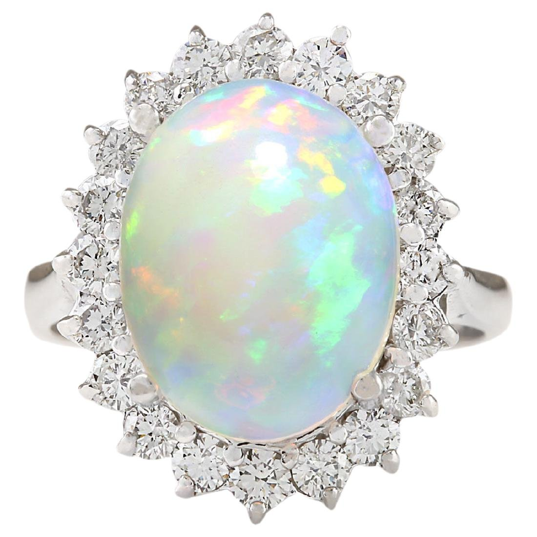5.19 CTW Natural Opal And Diamond Ring In18K White Gold