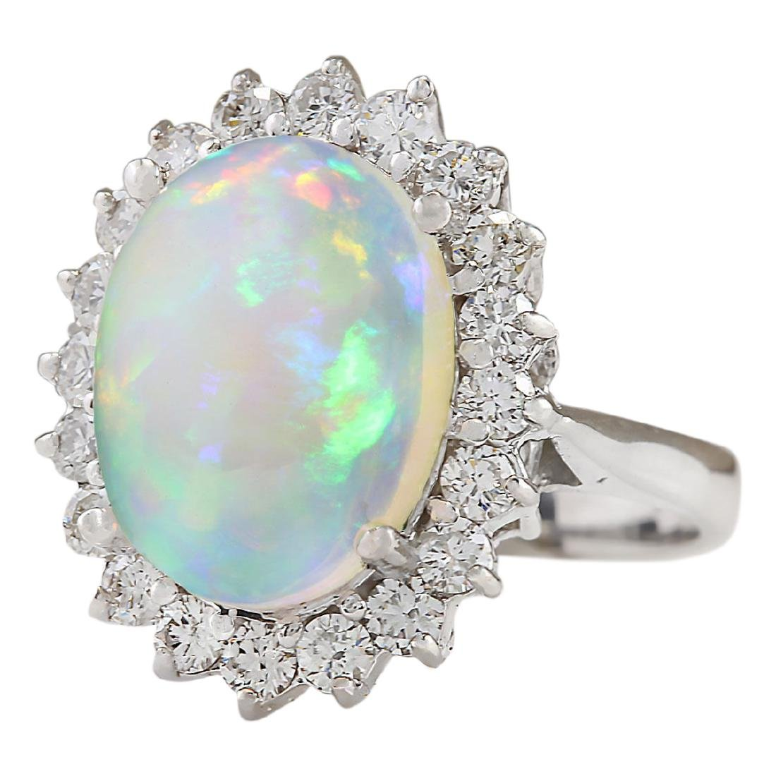 5.19 CTW Natural Opal And Diamond Ring In18K White Gold - 2