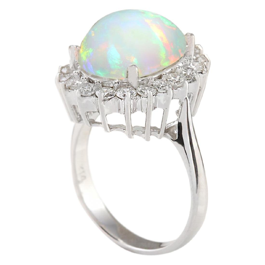5.19 CTW Natural Opal And Diamond Ring In18K White Gold - 3