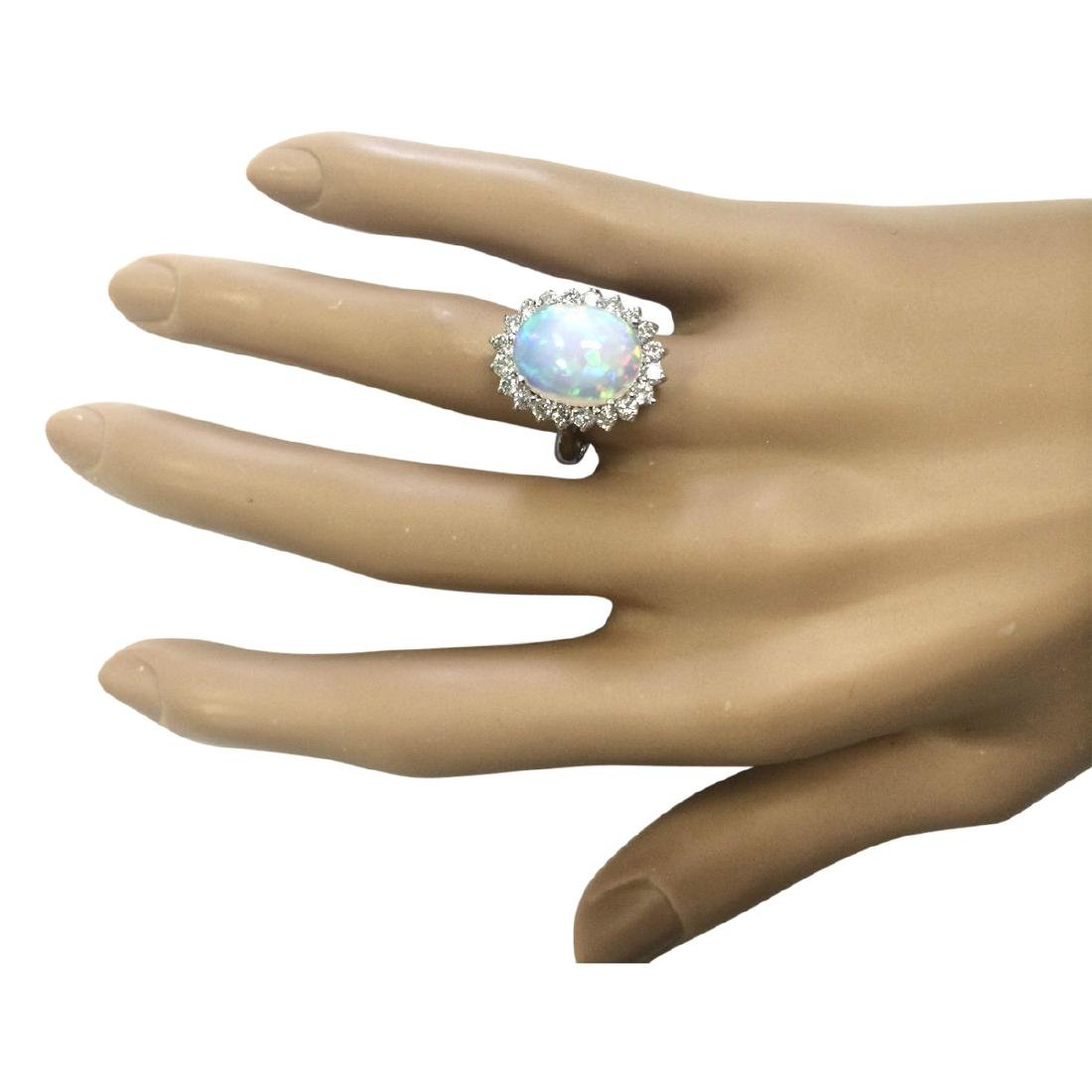 5.19 CTW Natural Opal And Diamond Ring In18K White Gold - 4