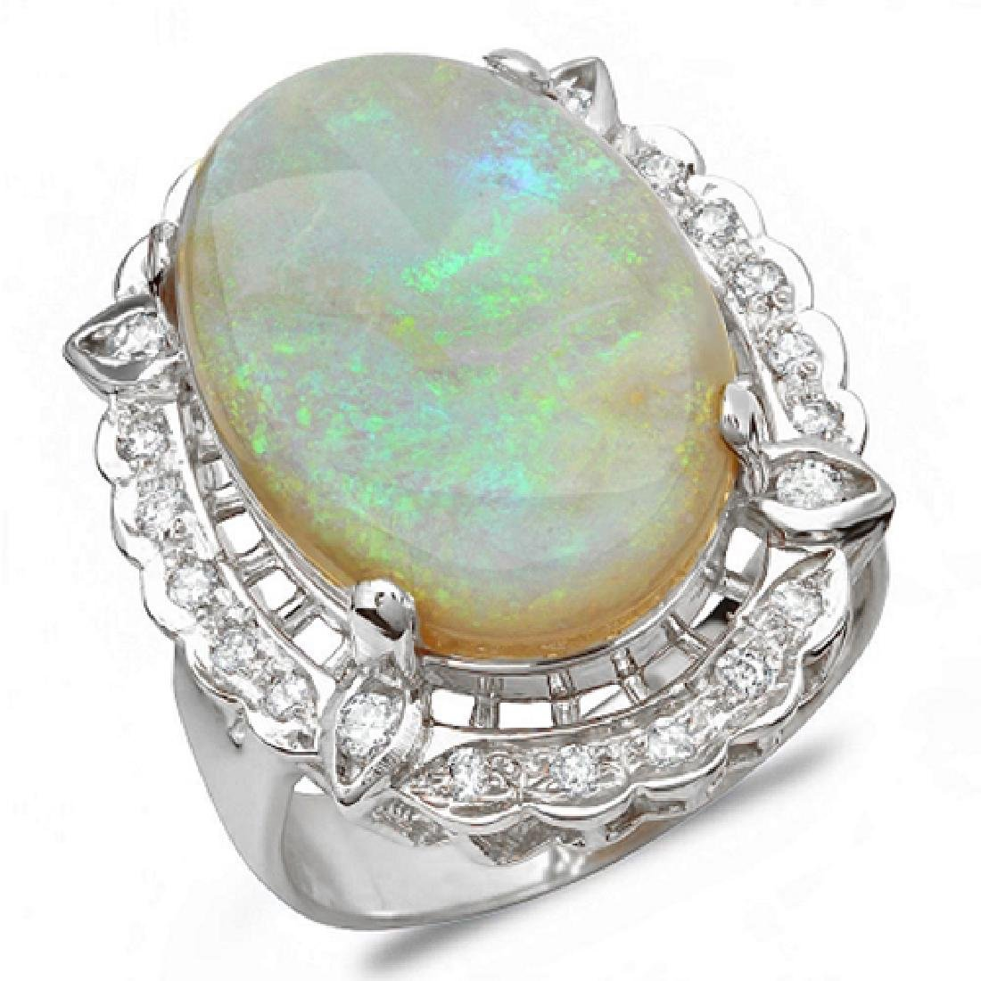 12.38 Carat Natural Opal 18K Solid White Gold Diamond