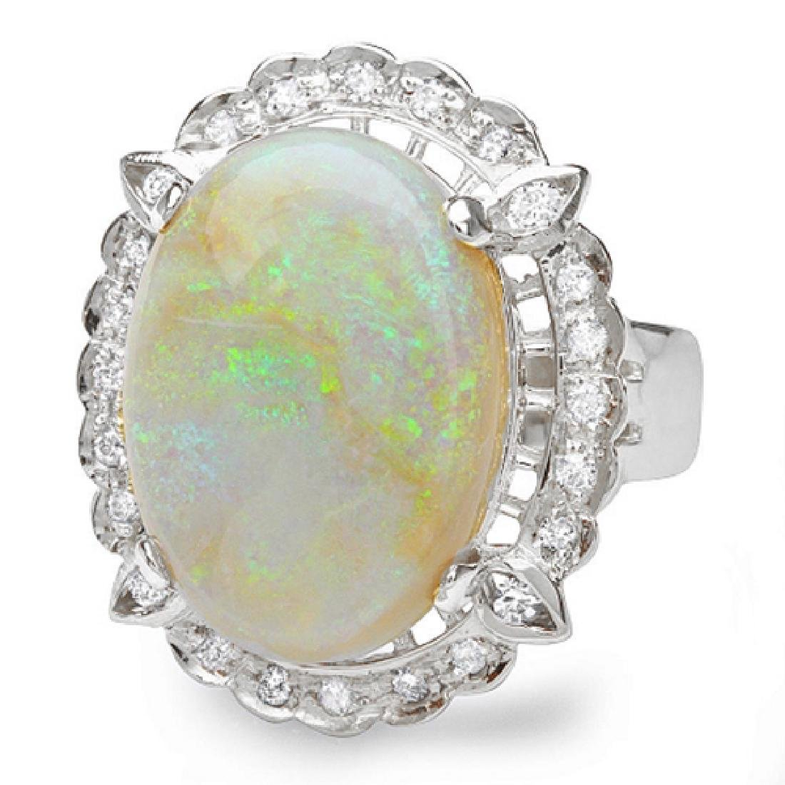 12.38 Carat Natural Opal 18K Solid White Gold Diamond - 2