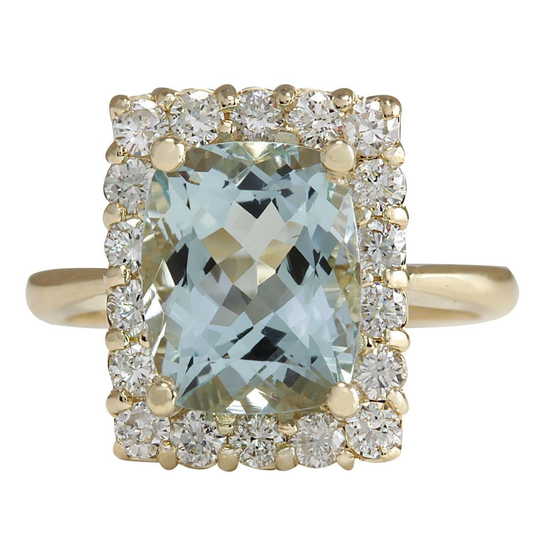 4.54CTW Natural Aquamarine And Diamond Ring In 18K