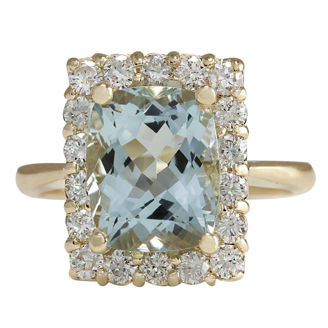 4.54CTW Natural Aquamarine And Diamond Ring In 18K