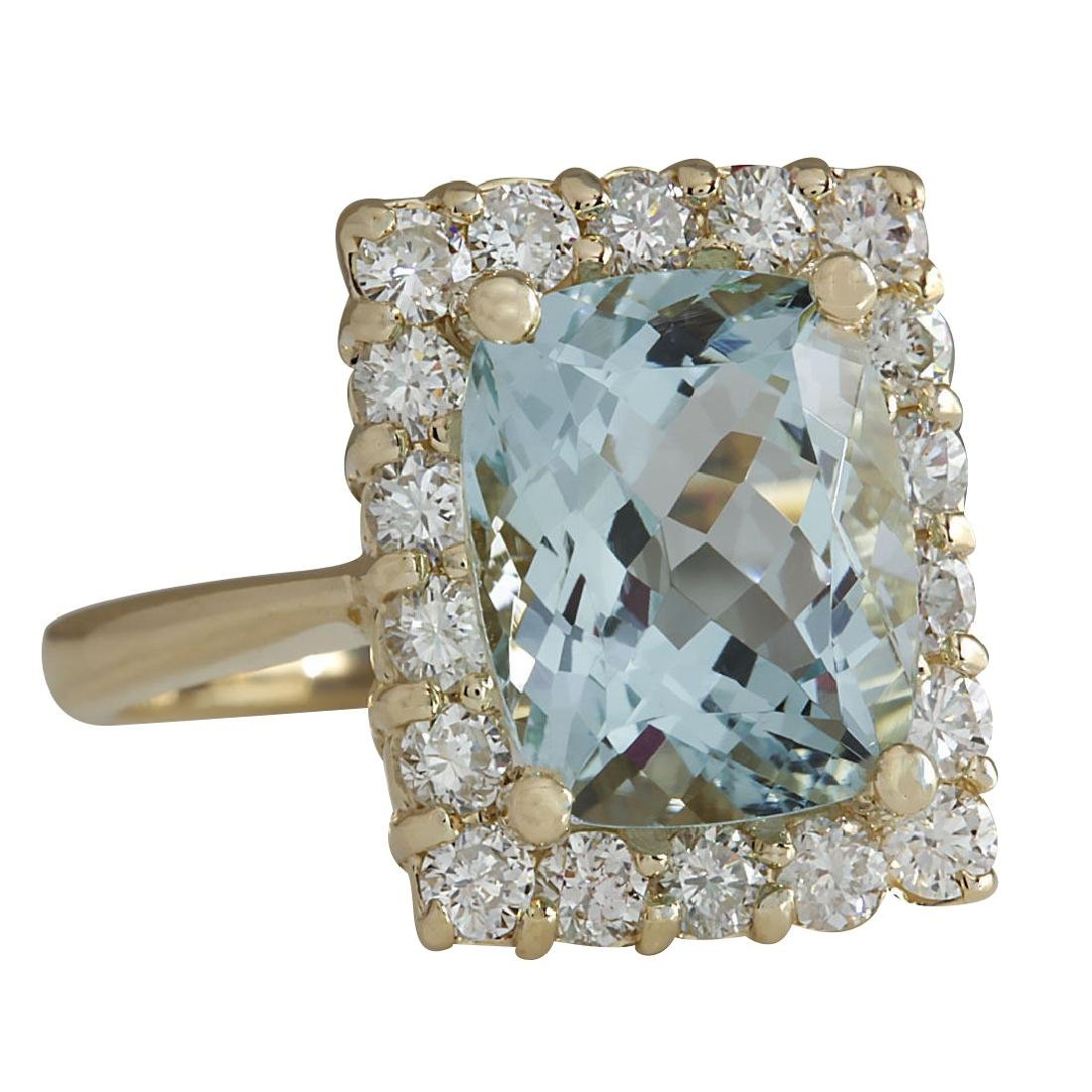 4.54CTW Natural Aquamarine And Diamond Ring In 18K - 2