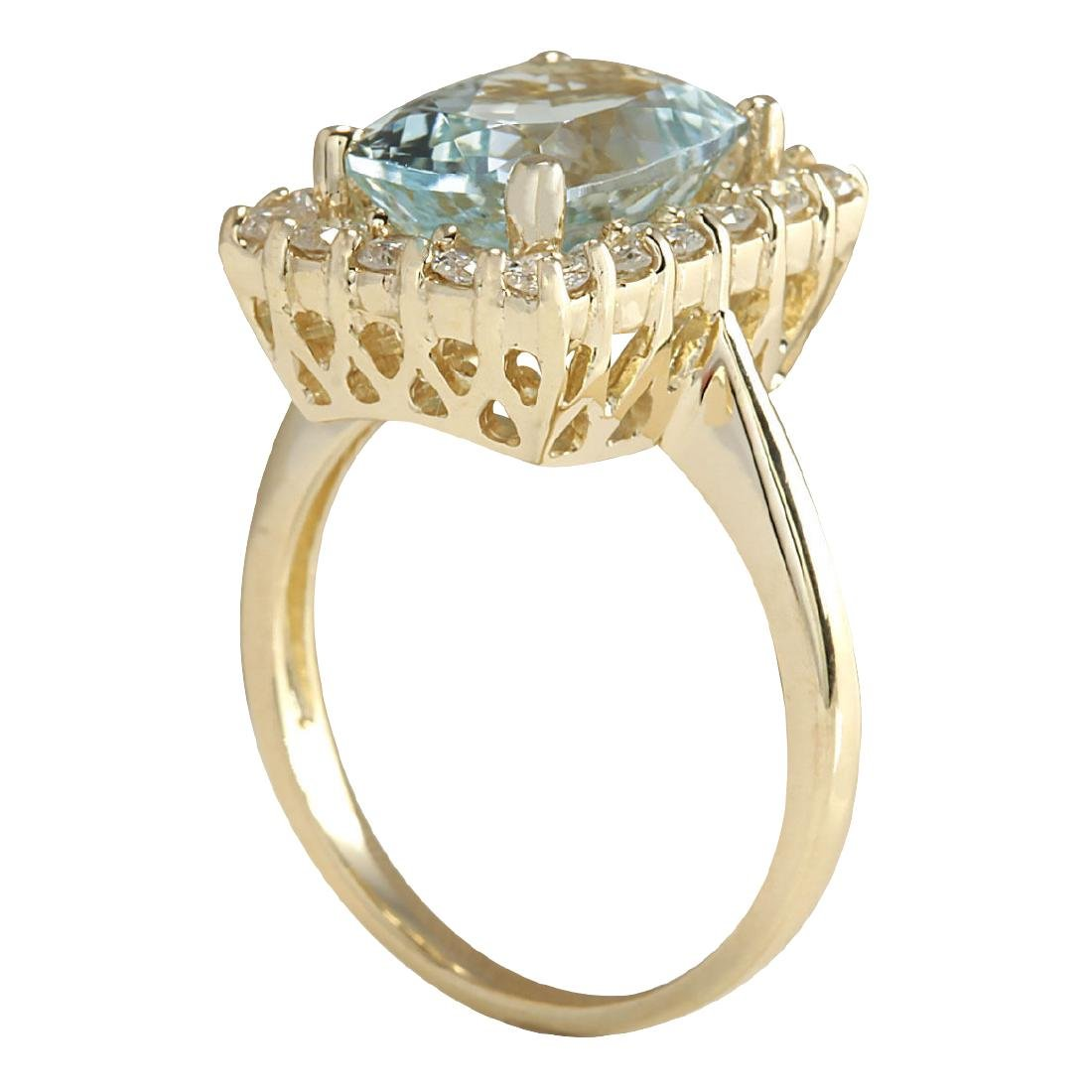 4.54CTW Natural Aquamarine And Diamond Ring In 18K - 3
