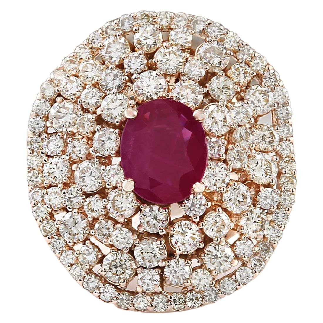 5.98 CTW Natural Ruby And Diamond Ring In 18K Rose Gold