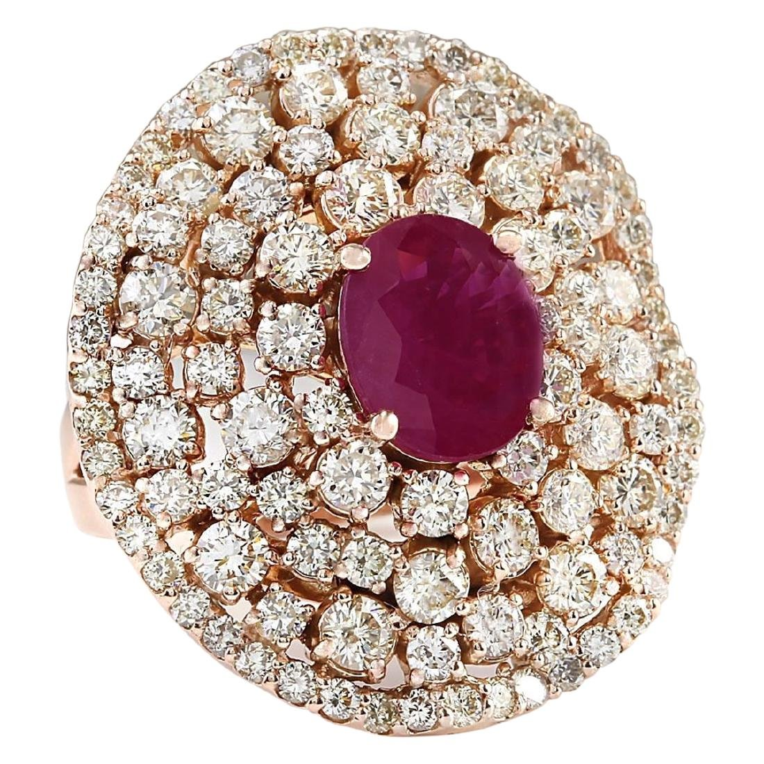 5.98 CTW Natural Ruby And Diamond Ring In 18K Rose Gold - 2