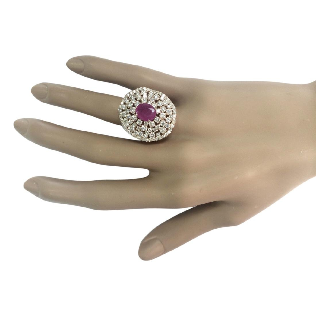 5.98 CTW Natural Ruby And Diamond Ring In 18K Rose Gold - 4