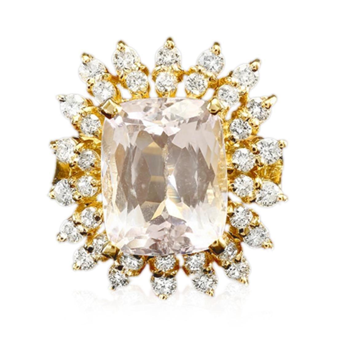 10.34 Carat Natural Kunzite 18K Solid Yellow Gold