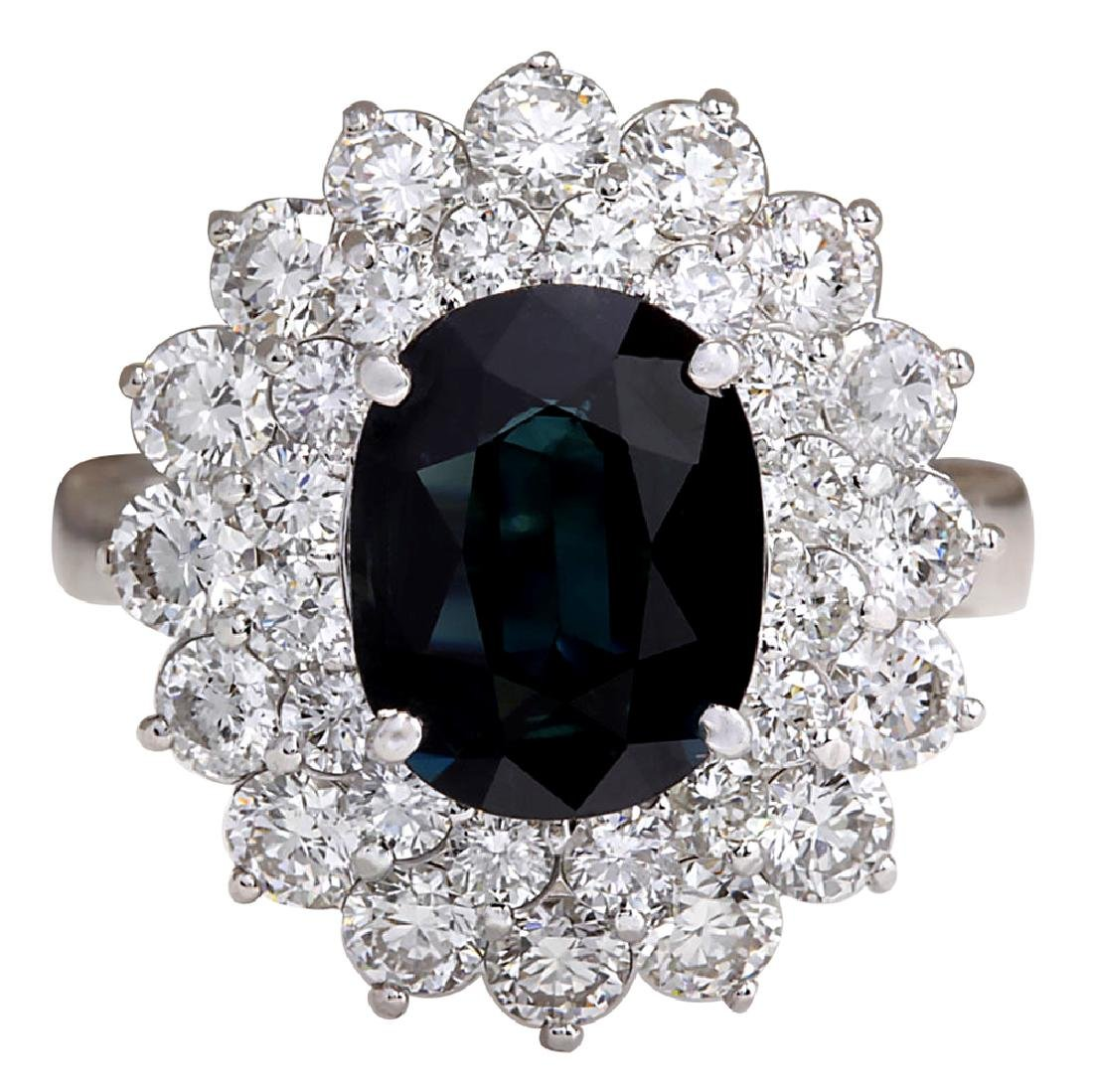 4.97CTW Natural Blue Sapphire Diamond Ring 18K Solid