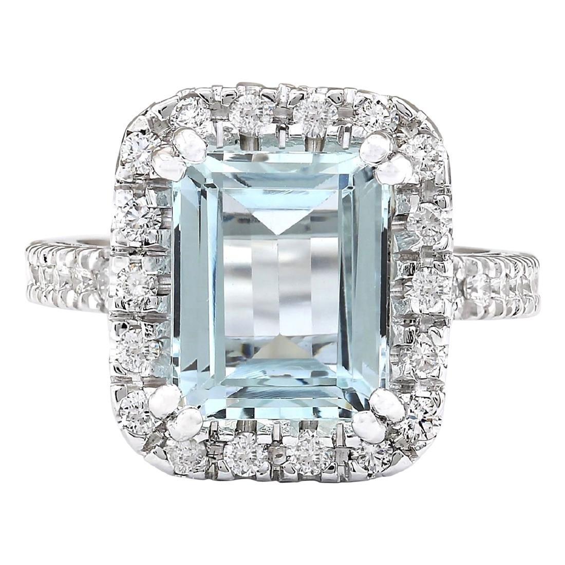 5.63 CTW Natural Aquamarine And Diamond Ring In 18K