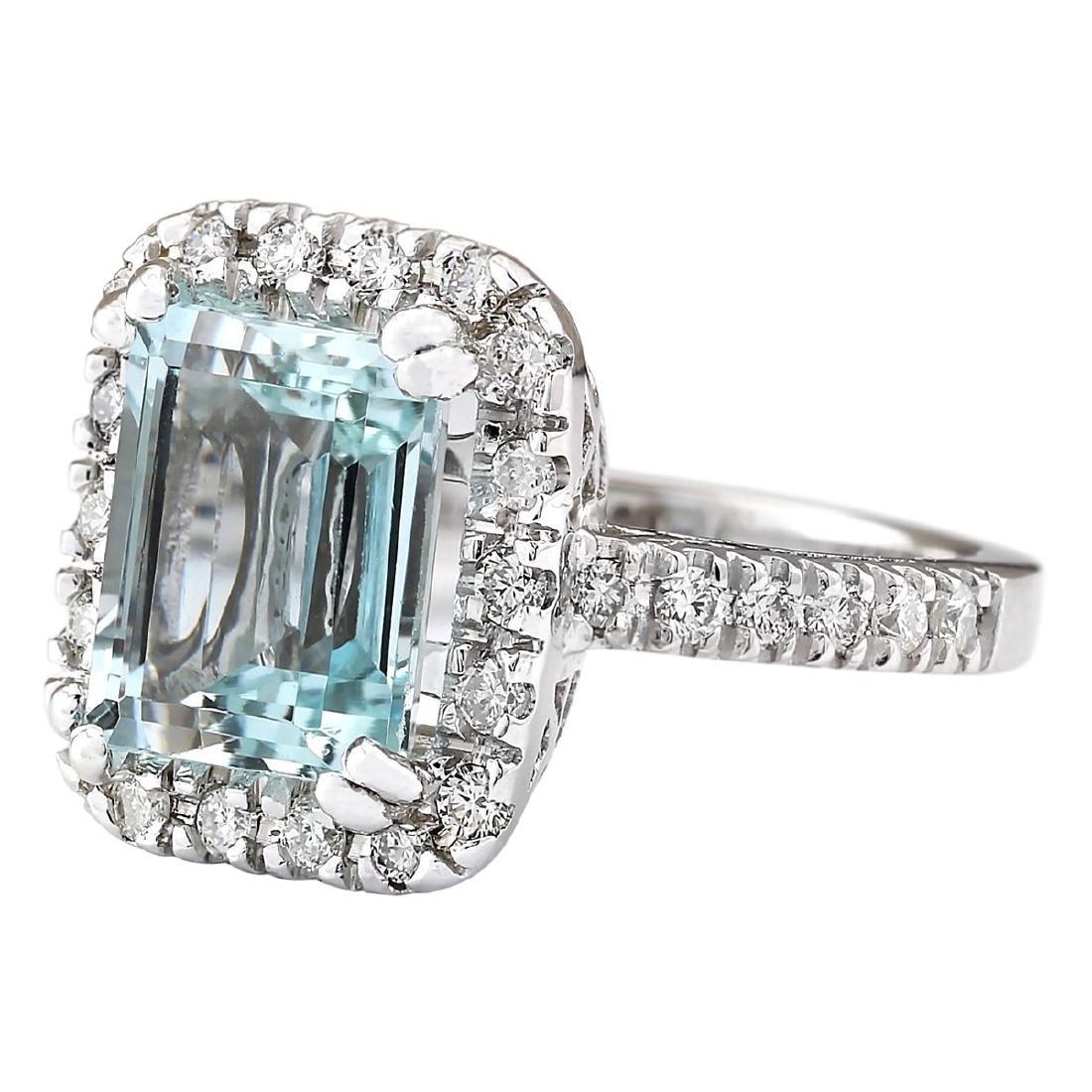 5.63 CTW Natural Aquamarine And Diamond Ring In 18K - 2