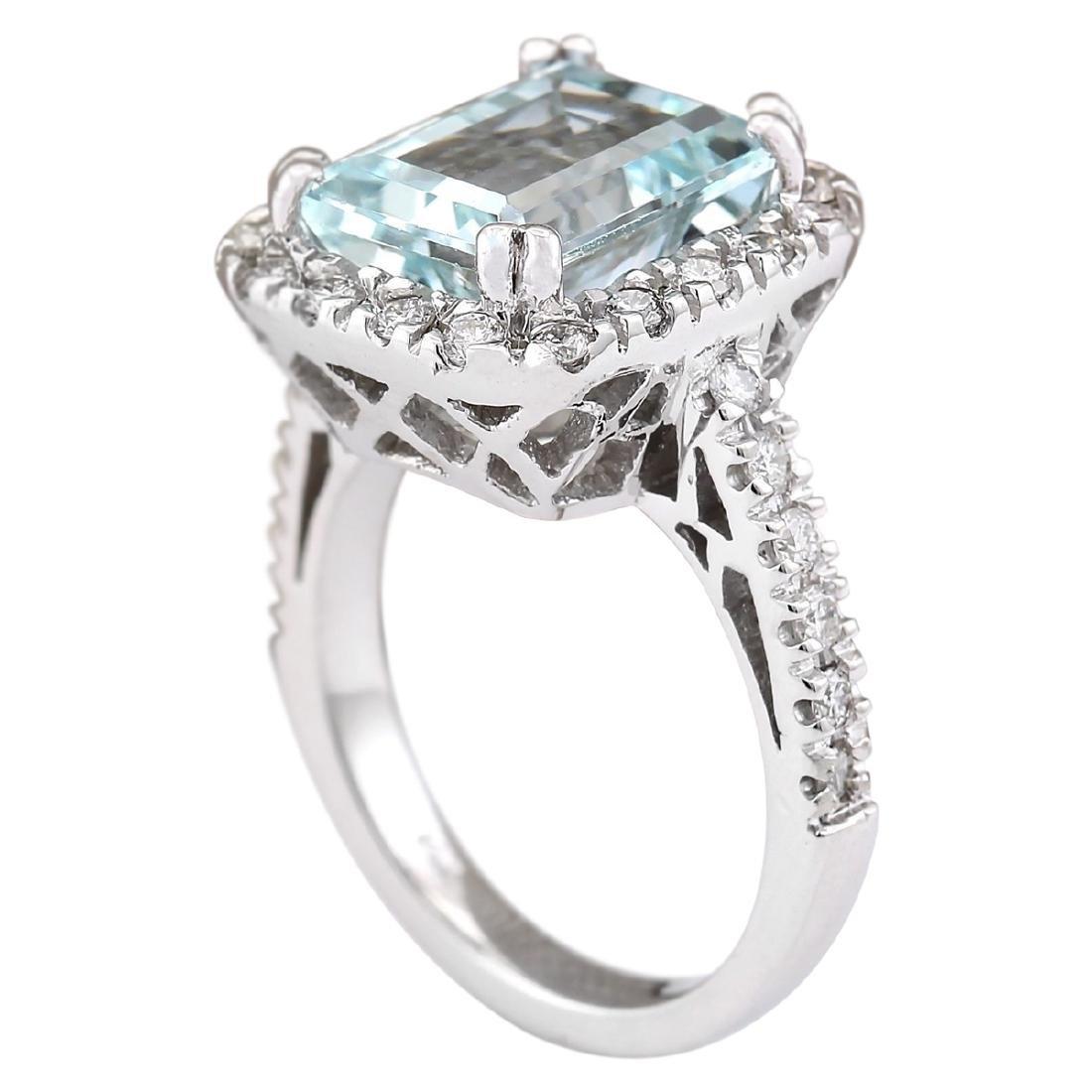 5.63 CTW Natural Aquamarine And Diamond Ring In 18K - 3