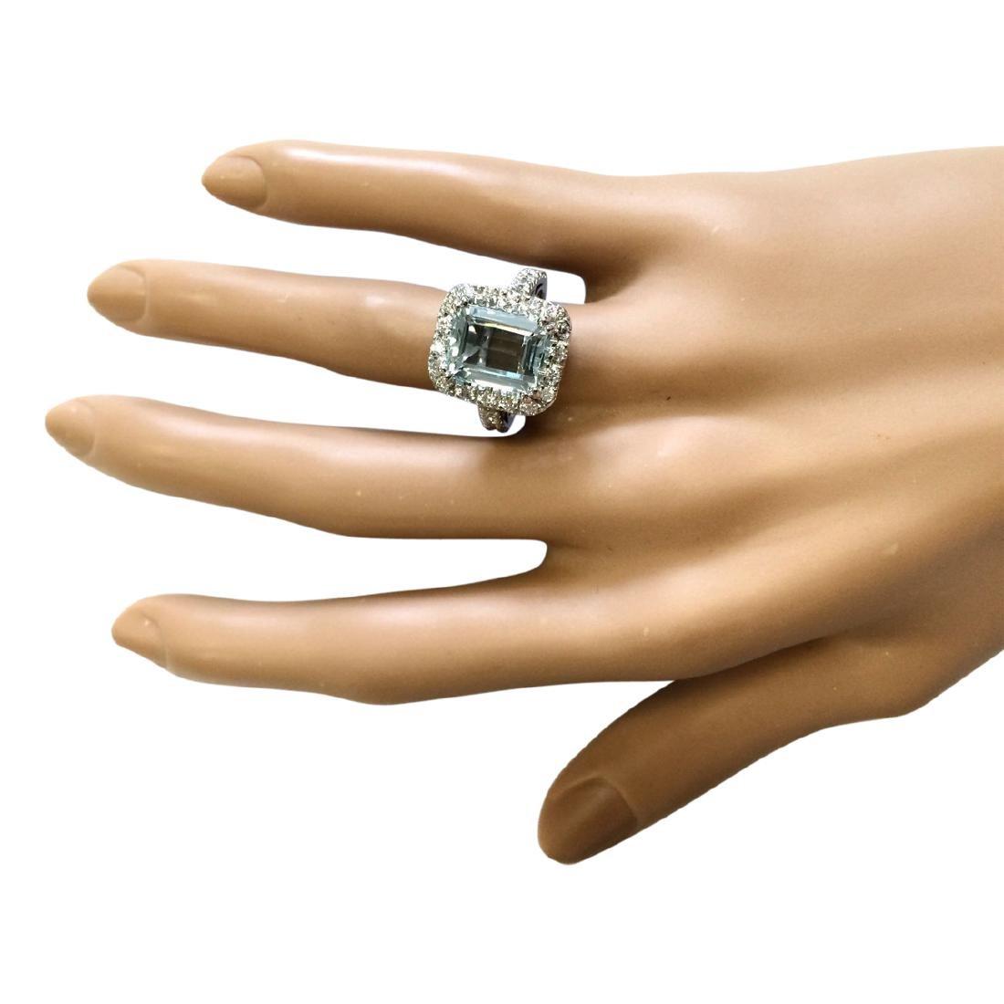 5.63 CTW Natural Aquamarine And Diamond Ring In 18K - 4