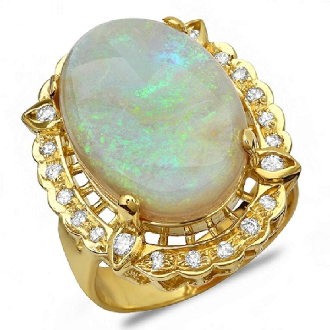 12.38 Carat Natural Opal 18K Solid Yellow Gold Diamond