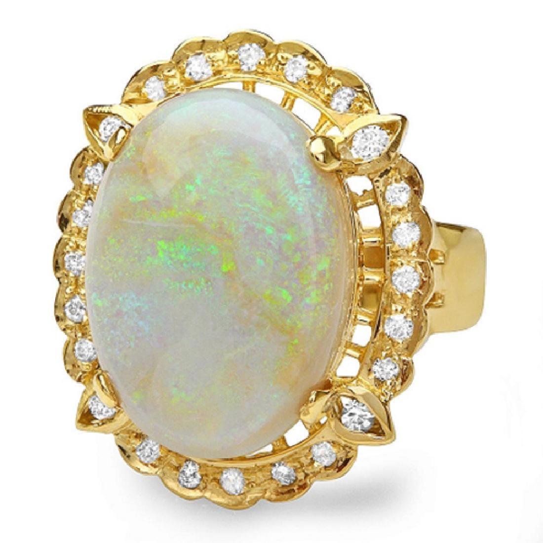 12.38 Carat Natural Opal 18K Solid Yellow Gold Diamond - 2