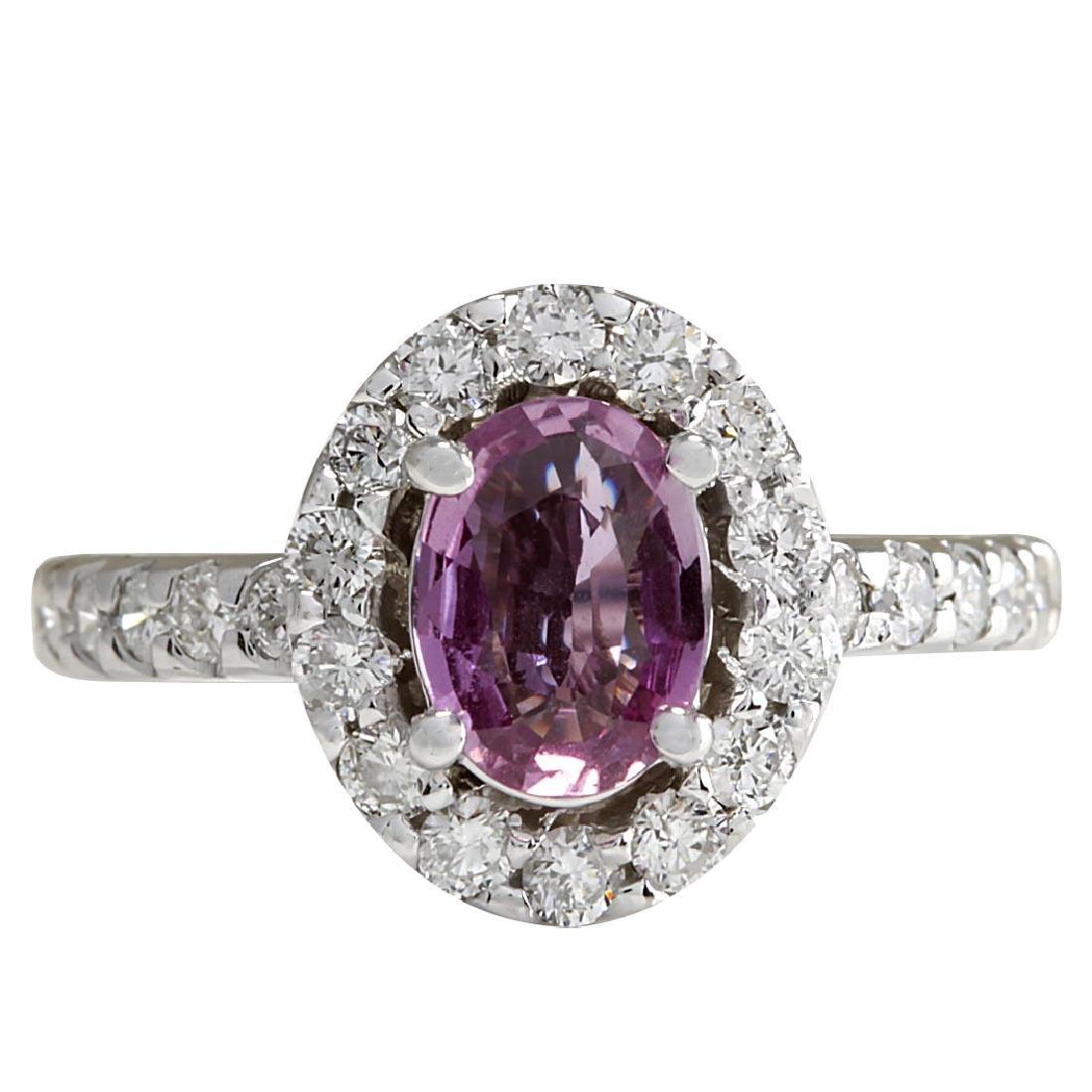 2.02CTW Natural Pink Ceylon Sapphire Diamond Ring 18K
