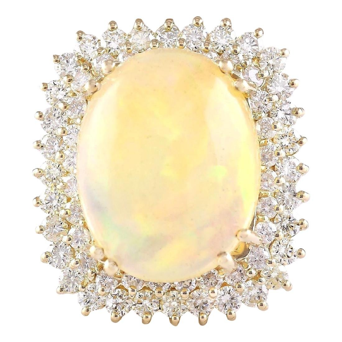 18.25 CTW Natural Opal And Diamond Ring In 18K Yellow