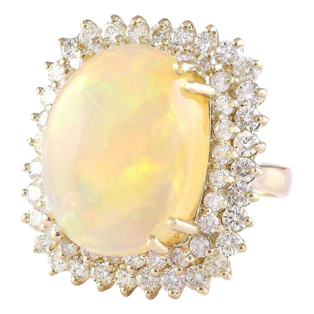 18.25 CTW Natural Opal And Diamond Ring In 18K Yellow - 2