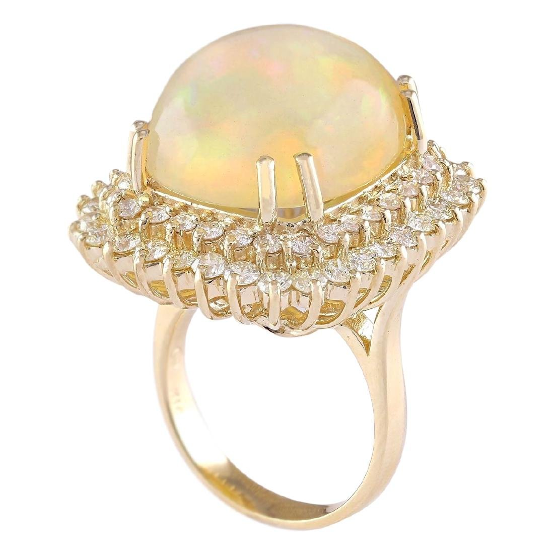 18.25 CTW Natural Opal And Diamond Ring In 18K Yellow - 3