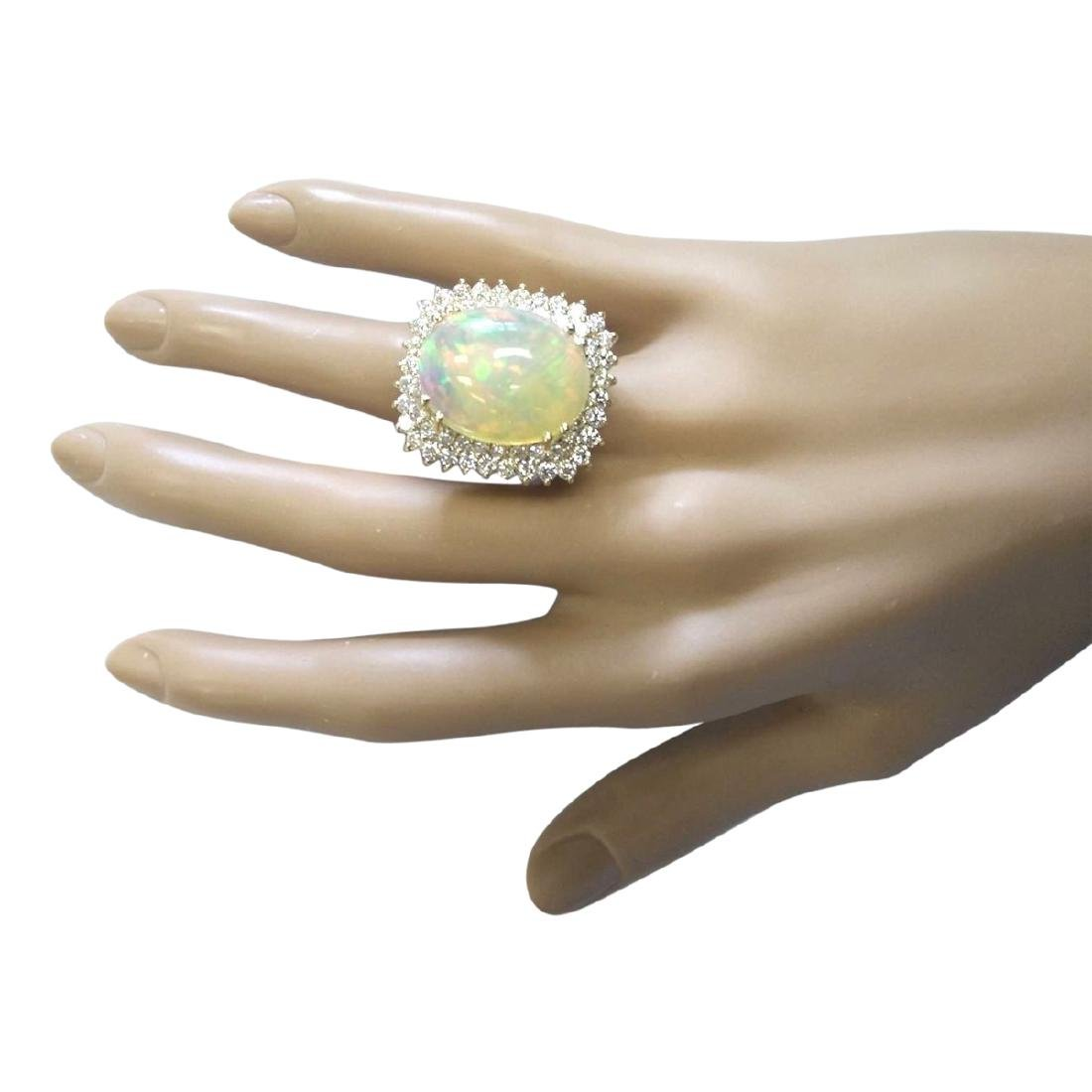 18.25 CTW Natural Opal And Diamond Ring In 18K Yellow - 4